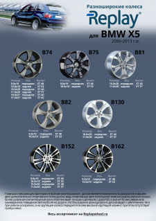 Разноширокие диски Replay® для автомобиля BMW X5 2006-2013 г.в