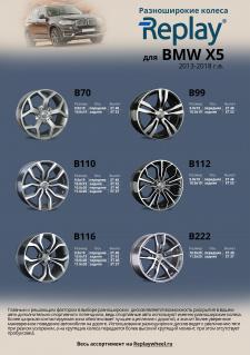 Разноширокие диски Replay® для автомобиля BMW X5 2013-2018 г.в
