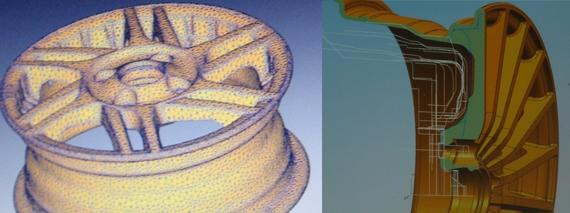 создание математической модели колесного диска и проверка применяемости по контурам ступиц replay