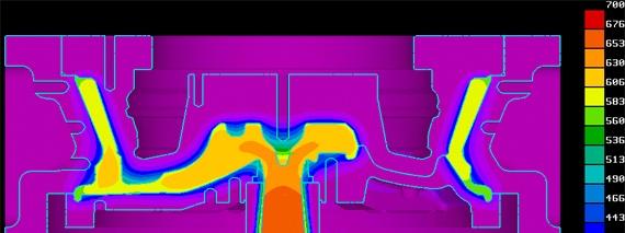 виртуальные испытания формы для литья под низким  давлением